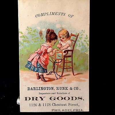 Dry Goods Darlington Runk Victorian Trade Card 1880s Children Playing Aquarium