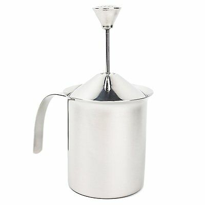 Double Mesh Stainless Steel Milk Frother w/Built in Spring (14oz)