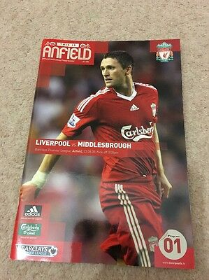 Liverpool vs Middlesbrough Official Programme 2008