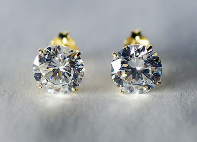 14kt Solid Yellow Gold 6mm Cubic Zirconia CZ Stud Earrings Basket Setting