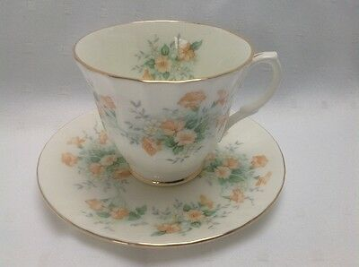 Vintage Duchess fluted bone china cup and saucer in floral peach pattern.