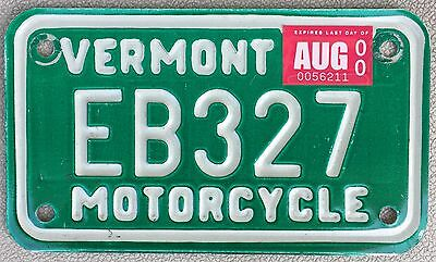 Vintage Vermont VT Motorcycle Metal License Plate # EB327 - Excellent Condition