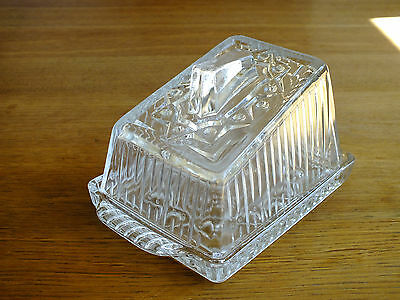 Vintage Pressed Glass Cheese / Butter Dish
