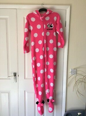 Girls Pink Minnie Mouse Onsie Age 11-12 With Hood And Feet Good Condition