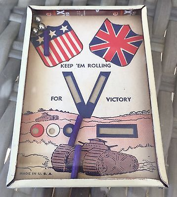 Vintage Dexterity Puzzle. Keep 'Em Rolling WW2 US And England Victory