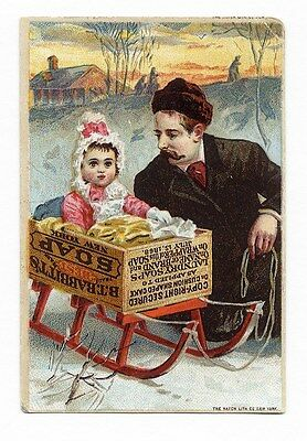 BABBITT'S BABY SOAP Victorian Trade Card 1880's Father Child Snow Sled