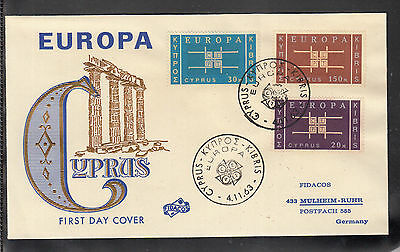A-37) Cyprus 1962 Europa Cacheted Fidacos FDC First Day Cover Michel 225 - 227