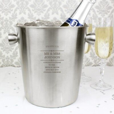 Personalised Champagne Ice Bucket Wine Cooler Wedding 11th Anniversary Gift