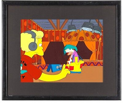 Simpsons Animation Cel and Background OBG Key Master Krusty Bart Homer Fox