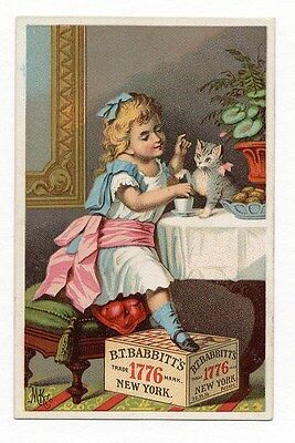 BABBITT'S SOAP Trade Card VICTORIAN GIRL & Her KITTEN CAT Having Tea 1880's