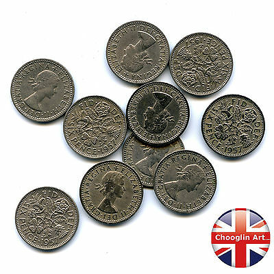 A collection of x10 1957 British Cupro-Nickel ELIZABETH II SIXPENCE Coins