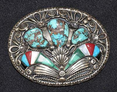 SILVER AND HARDSTONE WITH TURQUOISE BELT BUCKLE SIGNED JVB. (3.10 oz... Lot 1050