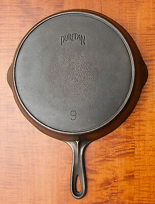 Vintage Cast Iron Puritan No.9 Skillet With Heat Ring   Clean & Sits Flat
