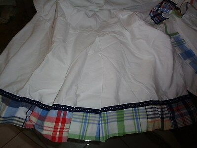 Pottery Barn Kids Madras Plaid Crib Skirt Blue, Brown, White Unused?? Excellent