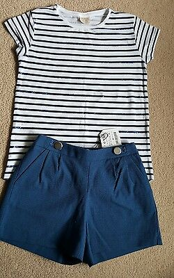 Bnwt Zara Girls outfit navy shorts glitter stripe t-shirt Age 8