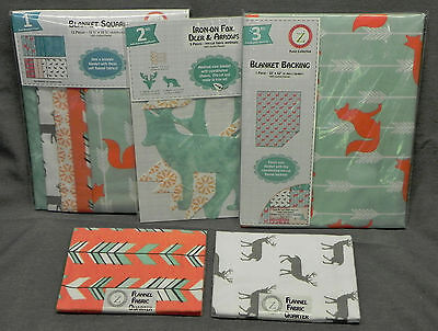 """""""Foxie"""" Flannel Blanket Quilt, Jo-Ann """"Land of Whimzie"""", Foxes, 3 Kits + 2 QBQs"""