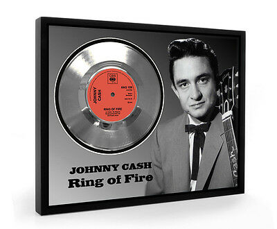 Johnny Cash Ring Of Fire Framed Silver Disc Display Vinyl (C1)