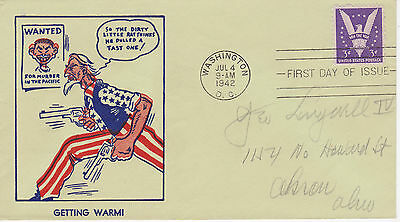 World War Ii Wwii Patriotic Cover -1942 Uncle Sam Getting Warm Wanted For Murder