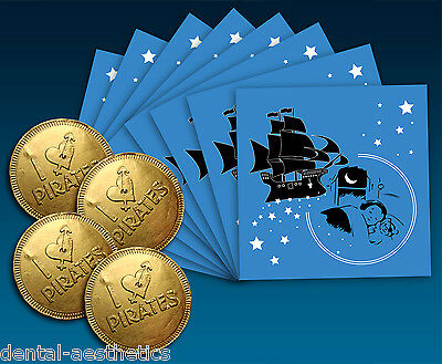 8 x Pirate Tooth Fairy Envelopes & 4 x Chocolate Coins  ~ Gift Kids Children