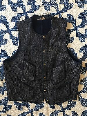 Vtg 40s 50s Brown's Beach Vest Jacket Salt pepper Antique Workwear 46 stifel