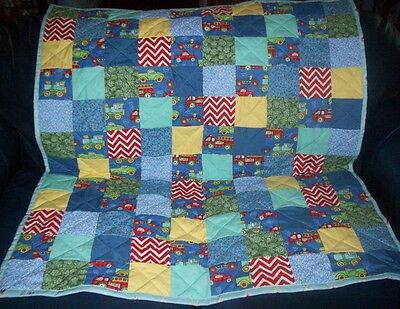 "Handmade Baby Boy Crib Quilt, Bears in Cars, Trucks, Trains, Etc., 40"" x 46"""