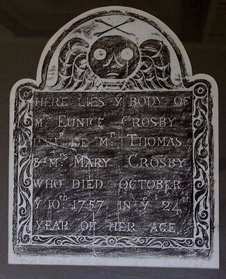 Ghoulish 1757 Headstone Rubbing Cape Cod Graveyard Pencil Signed Nicely Framed