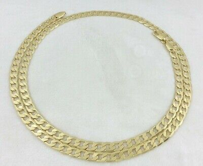 Real 14k Gold Filled Thin Flat Hammered Cuban Link Chain Necklace 30 6mm Stamp