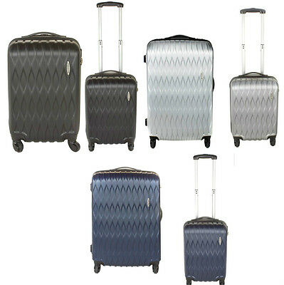 LARGE & CABIN 2 PIECE SET LUGGAGE SUITCASES LIGHTWEIGHT SILVER BLACK BLUE4 wheel
