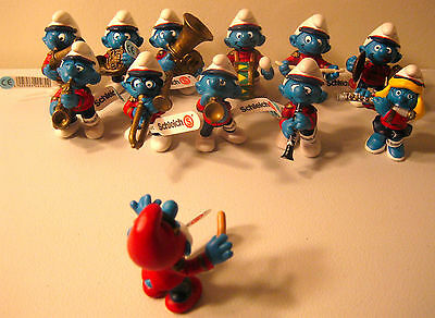 Schleich Smurfs Marching Band Complete Set of 12 different Figures