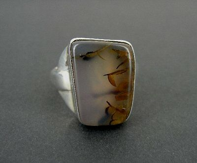 Agate Nice Stone Sterling 925 Silver Size 11 1/4 Men's Band Ring