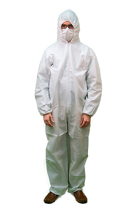 Tyvek White Disposable Coverall Bunny Suit Hood Size M-3XL Dupont Quality