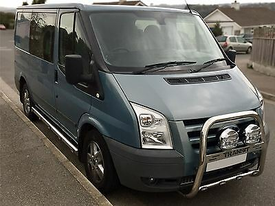2007 - 2014 Ford Transit MK7 Front A Bumper Bar Bullbar + Chrome Light Spots x2