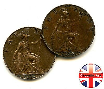 A pair of 1924 British Bronze GEORGE V FARTHING Coins