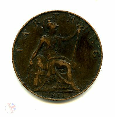 A 1911 British Bronze GEORGE V FARTHING Coin
