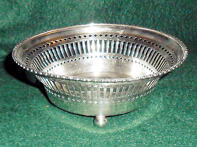 "Small 5 3/4"" Sterling Silver Reticulated Footed Bowl"