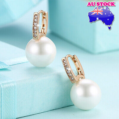 Elegant Womens 18K Gold Filled White Pearl Zircon Crystal Hoop Huggie Earrings