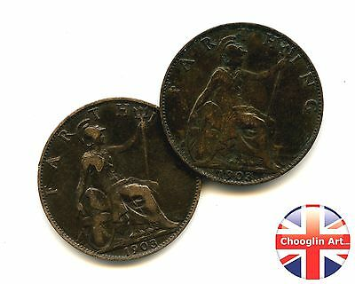 A pair of 1903 British Bronze EDWARD VII FARTHING Coins