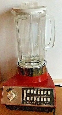 Retro Orange Red Waring Futura Glass Blender With 14 Settings…mid Century