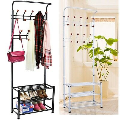 Metal Coat Jacket Hat Clothes Floor Standing Hanger Hook Hanging Shoe Rack Stand