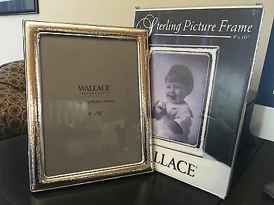 "Wallace NEW Sterling Silver Hammered Picture Frame for 8"" X10"" Photo MINT in Box"