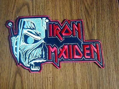 Iron Maiden With Logo # 2,sew On Red And White Embroidered Large Back Patch