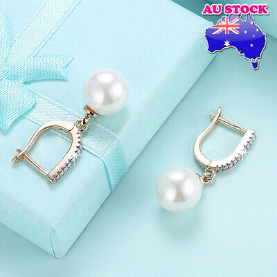 Elegant 18K Gold Filled Classic Simplestyle Pearl Hoop Huggie Drop Earrings
