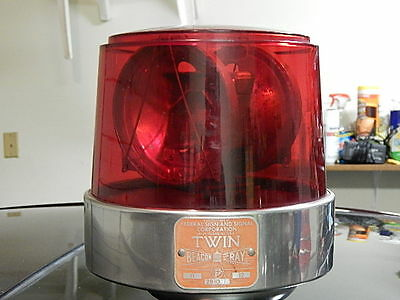 Vintage Federal Signal Twin Beacon 12 Volt light (red dome) SLAVE unit