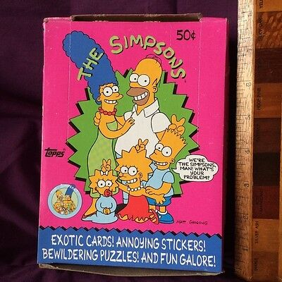 *low Price* Topps Simpsons Trading Cards + Stickers 1990 Near Mint Box 36 Packs!