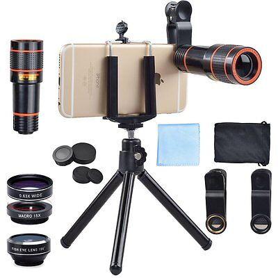 Apexel 4 in 1 12x Zoom Telephoto Lens with Phone Holder + Tripod for  iPhone 7/6