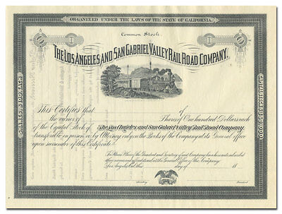 Los Angeles and San Gabriel Valley Rail Road Company Stock Certificate