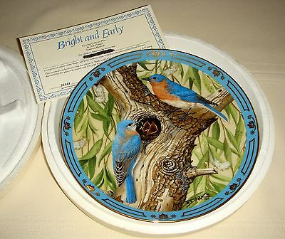 DERK HANSEN Winged Treasures Eastern Bluebird Mates & Young BRIGHT & EARLY Plate