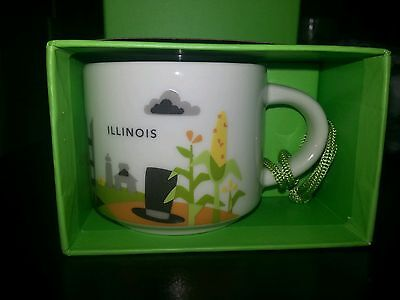 NEW Illinois Starbucks Ornament 2oz, You are Here Collector Series