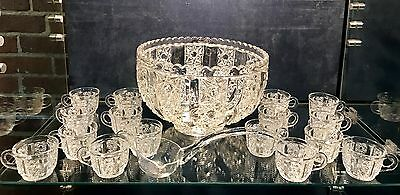 Victorian EAPG Clover Pattern Punch Bowl With Cups