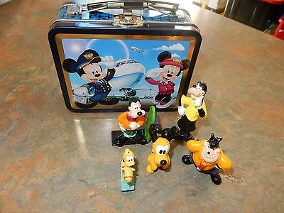 Mickey Mouse Tin With 2 Pluto, 2 Goofy And Pete Figurines